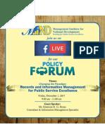 MIND Policy Forum - Decemeber 2017