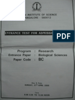 IISc Bio Ques Paper 2008