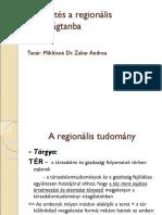 Bevezetés a Regionális Gazdaságtanba