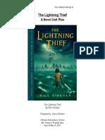percy jackson and the lightnight thief unit plan - 4th grade