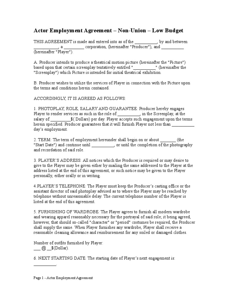 Free actor employment agreement non union low budget for Acting contract template