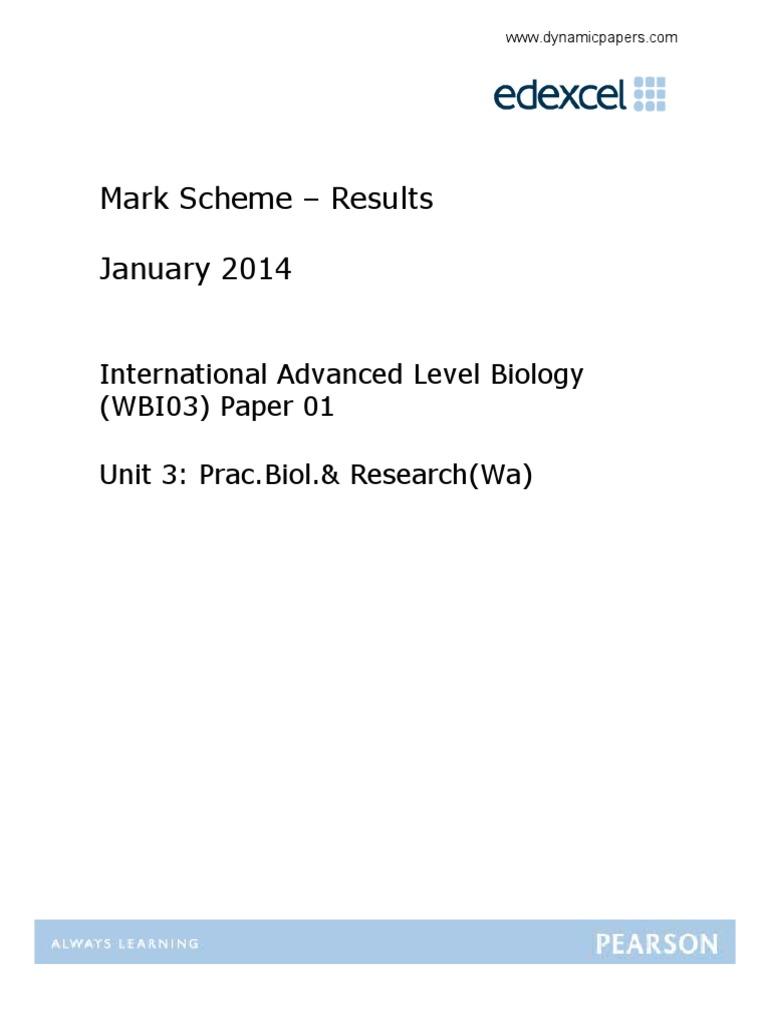 January 2014 IAL MS Unit 3 Edexcel Biology | Cell Membrane | Gce Advanced  Level (United Kingdom)