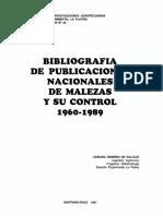 Bibliografia de Publicaciones Sobre Malezas y Su Control