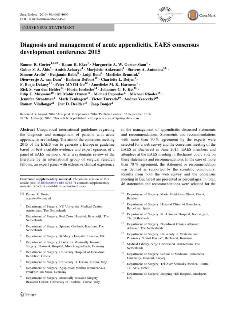 acute appendicitis guidelines
