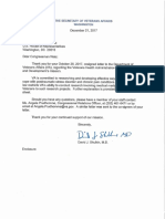 VA Secretary's Response to Oct 26 Letter