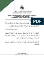 Teks Khutbah - September Minggu 1 Tajuk - Kelebihan Serta Amalan Pada Hari Raya Qurban Dan Hari Tasyriq