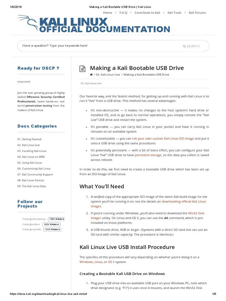 download kali linux usb boot