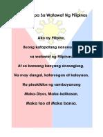 Panunumpa Sa Watawat Ng Pilipinas