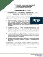 COMUNICADO PNP  N° 002 -2018