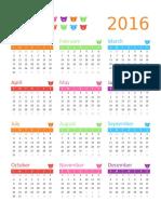 Any Year Calendar (1 Page, Rainbow Bears Design)1