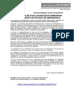 POBLADORES DE CHALLHUAHUACHO DEMANDAN LEVANTAMIENTO DE ESTADO DE EMERGENCIA