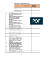 Audit Checklist for Purified Water System