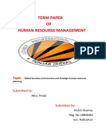 Global business environment and Strategic human resource