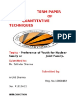 Preference of Youth for Nuclear family or Joint Family.