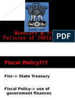 Fiscal and Monetary Policy of India