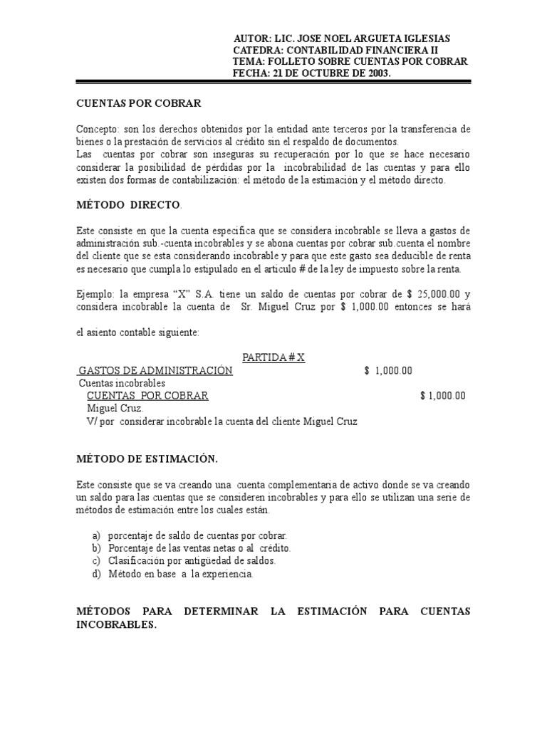 Excelente Cuentas Por Cobrar Especialista Resume Muestras Foto ...