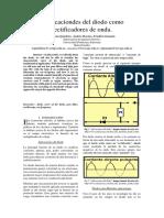 Aplicaciones del diodo como rectificado de onda