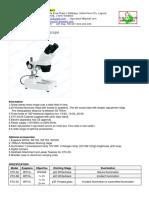 1. TDS - Lagustar Industries XTX-3 Stereo Microscope