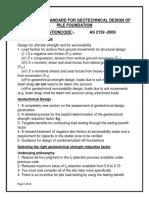 Australian Standard for Geotechnical Design of Pile Foundation