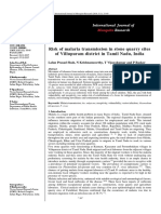 Risk of Malaria Transmission in Stone Quarry Sites of Villupuram District in Tamil Nadu, India