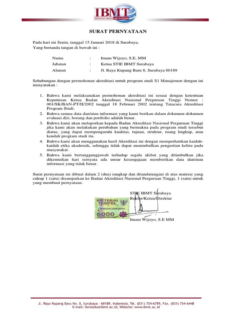 Surat Pernyataan Akreditasi Sapto