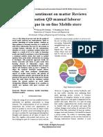 Analysing sentiment on matter Reviews Victimisation Dmanuallaborer Techniquein on-line Mobilestore