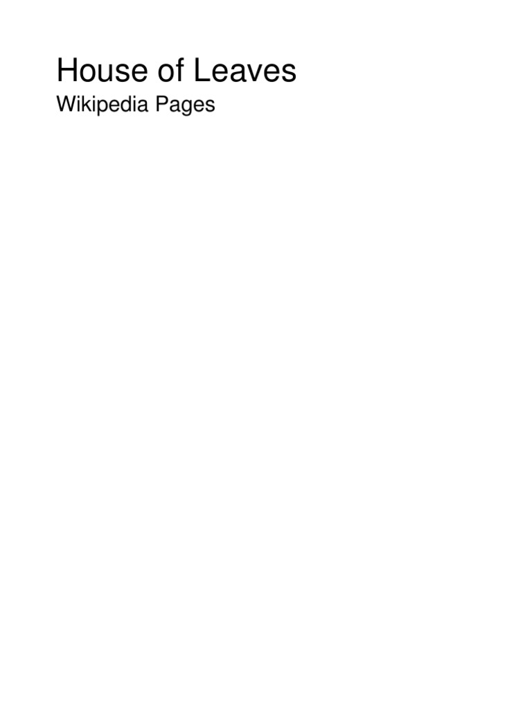 House Of Leaves Wiki Pages