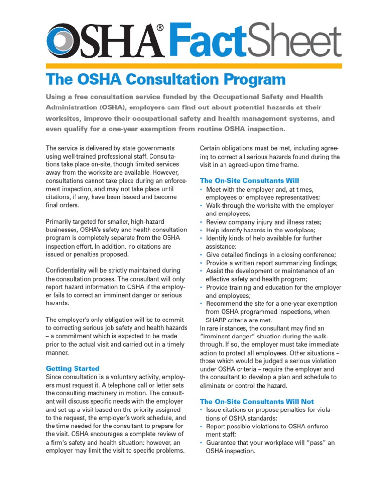 Factsheet Consultations | Occupational Safety And Health