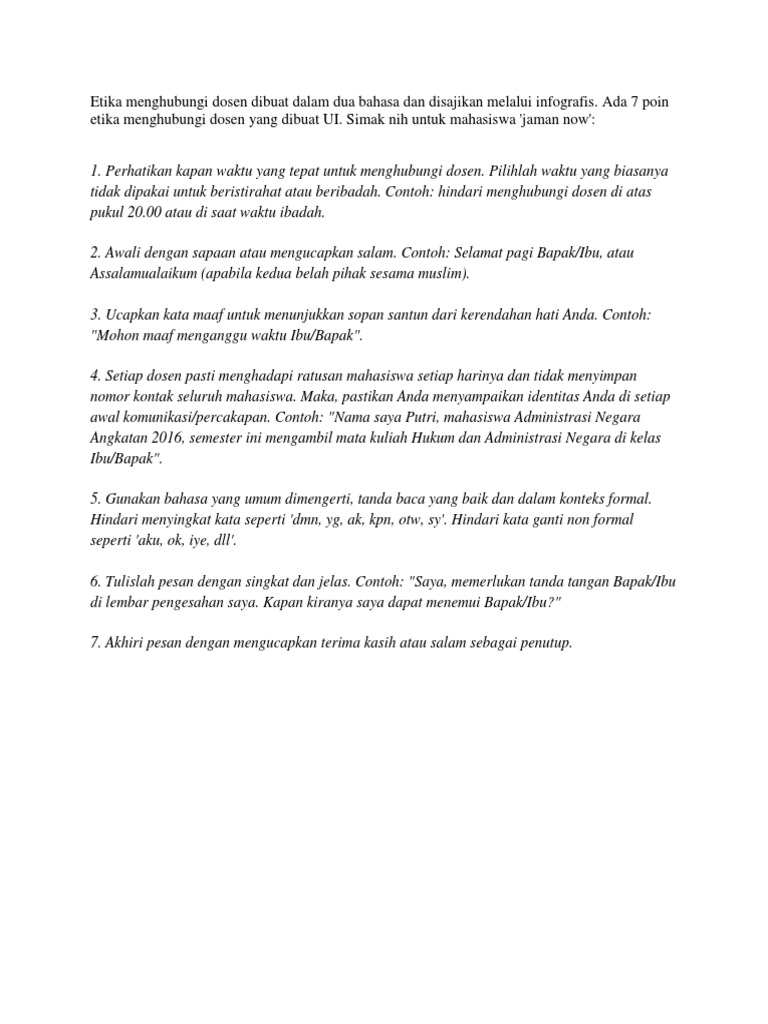 Cara Berkomunikasi Dengan Dosen Docx