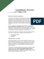 Nulidad, Anulabilidad y Rescisión en nuestro Código Civil