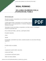 Ordinario de La Misa Celebrada Con La Participación Del Pueblo