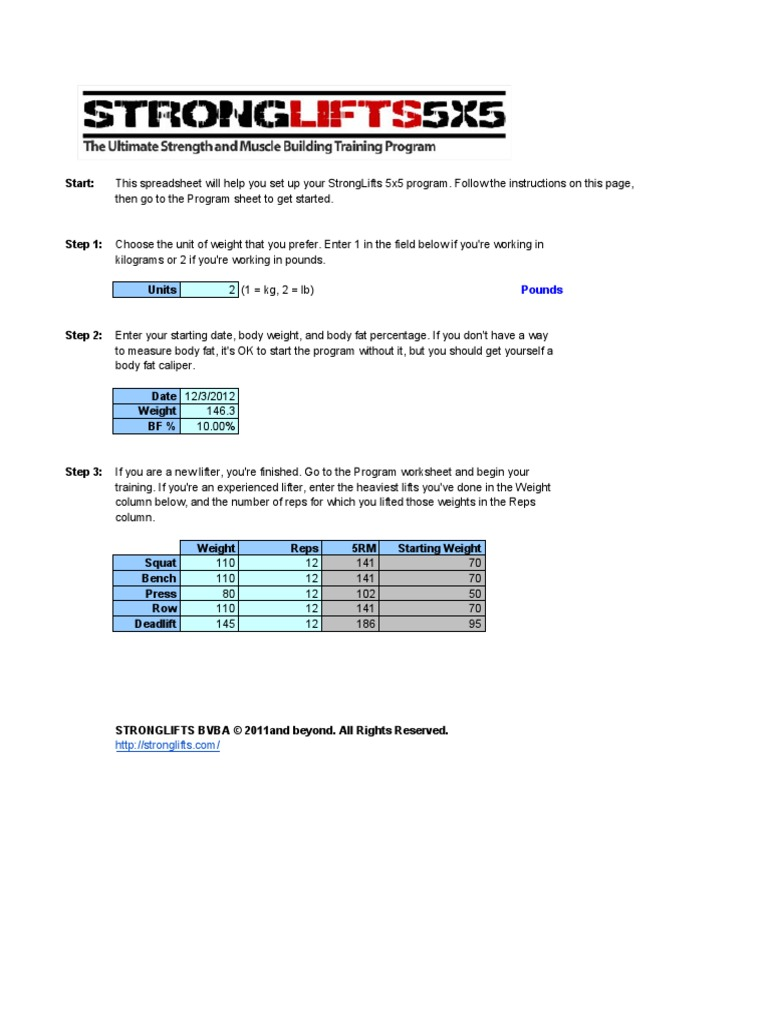 worksheet Body Fat Content Worksheet stronglifts 5x5 program sports recreation