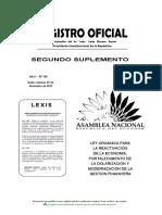 Ley Orgánica Para La Reactivación de La Economía Fortalecimiento de La Dolarización y Modernización de La Gestión Financiera RO 150 29-12-2017