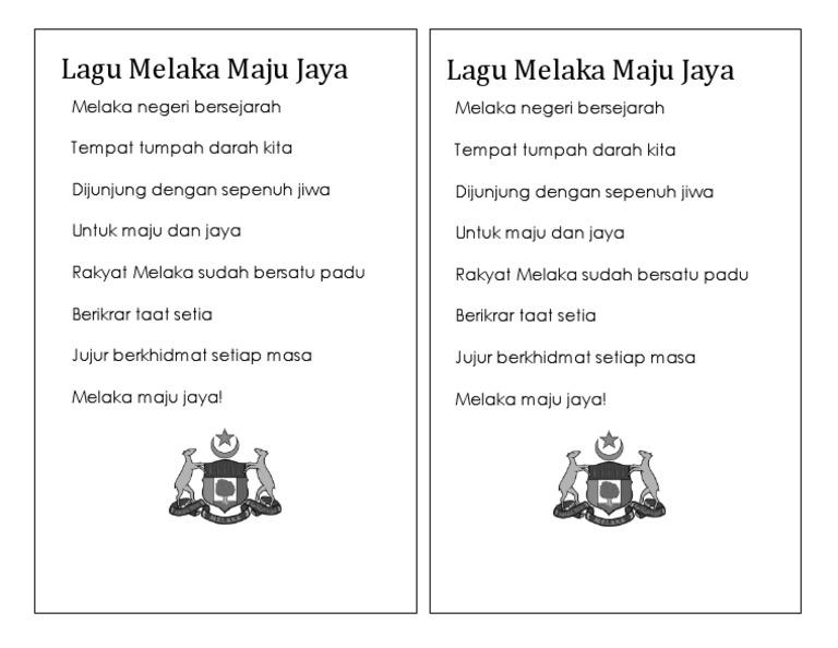 Transisi Lagu Melaka Maju Jaya