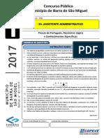 Prova - Assistente Administrativo - Tipo 1 - B. S. Miguel 2017