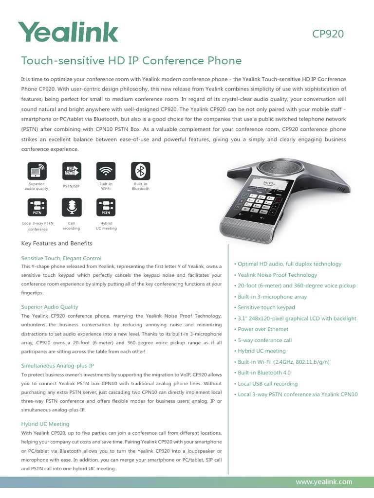 Yealink CP920 HD IP Conference Phone Datasheet | Session Initiation