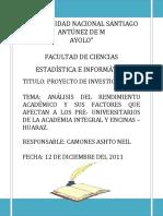 PROYECTO DE INVESTIGACIÓN DE RENDIMIENTO ACADEMICO DE LOS PRE-UNIVERSITARIOS