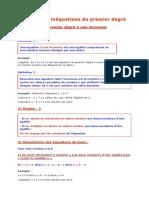 Cours - Math - Equations Et Inéquations Du Premier Degré - 1ère as (2015-2016) Elève Ahmed Lazhar