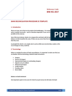 Bank Reconciliation Procedure and Template - DRAFT
