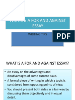 Writing a for and Against Essay