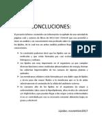 CONCLUCIONES LIPIDOS