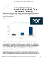 Metric of the Month_ Dock to Stock Cycle Time in Hours for Supplier Deliveries