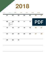 Ene 2018 Calendar i o