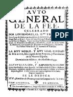 Auto General de La Fe Celebrado en La Muy Noble y Muy Leal Ciudad de Mexico