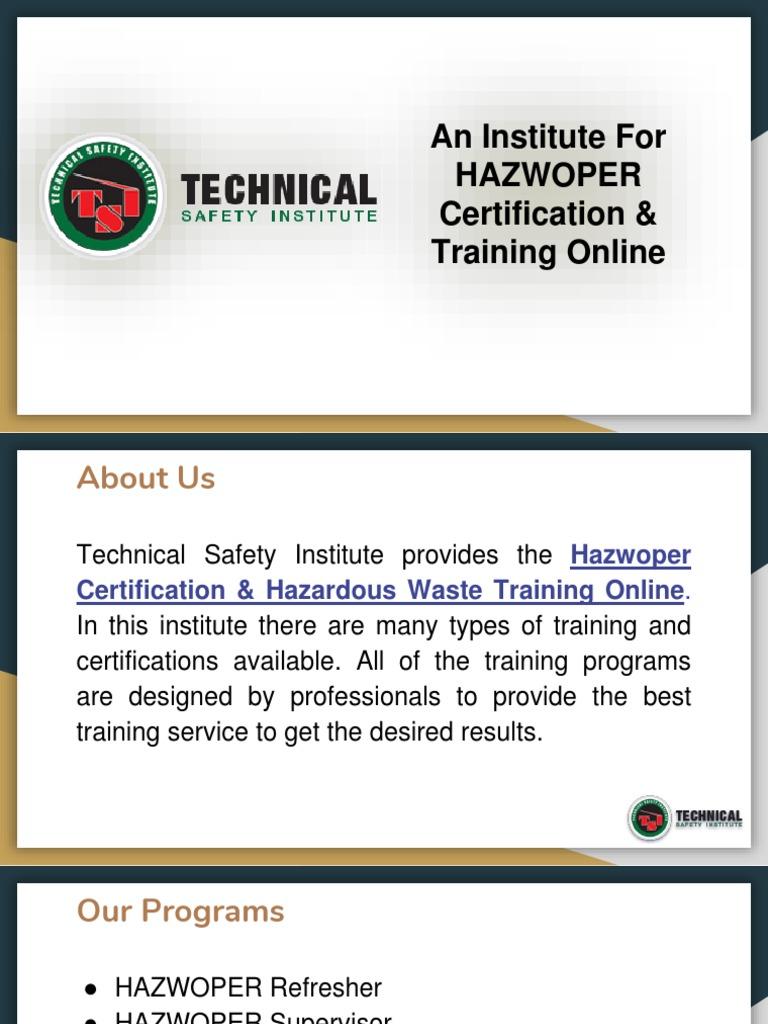 Hazwoper Certification Training Institute Teksafety Public