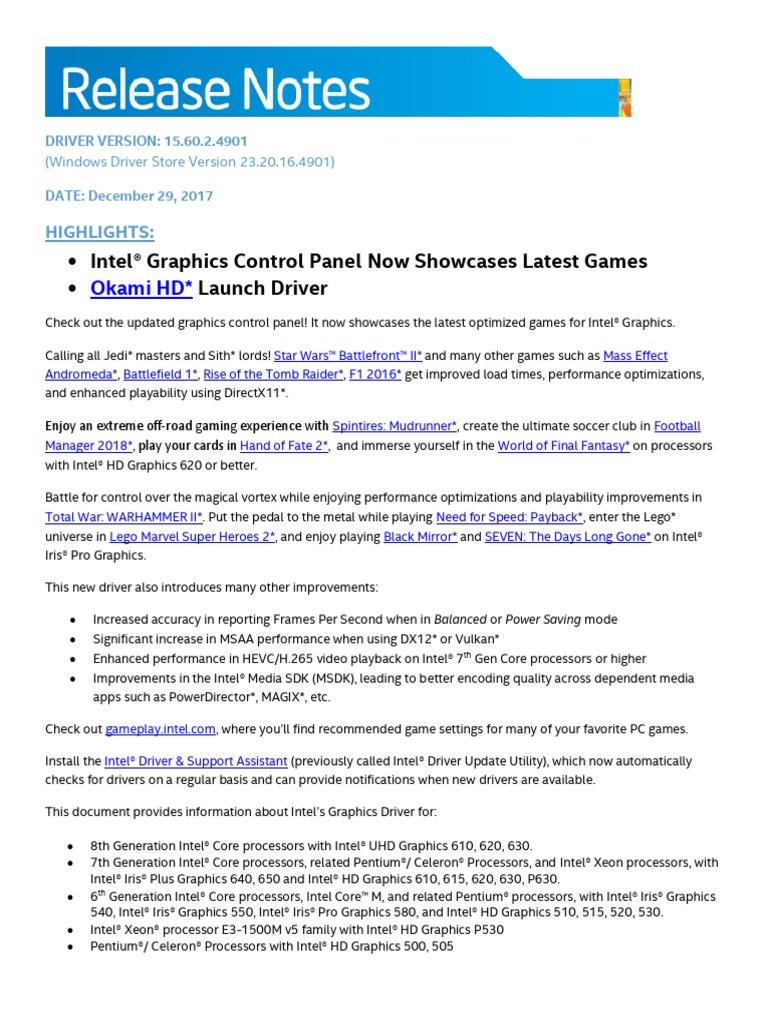 ReleaseNotes_GFX_15 60 2 4901 | Intel | Computer Hardware