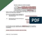 Declaración Jurada de Aporte de Bienes
