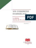 Ponencia 1. Biblia Como Norma de Fe y Conducta