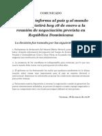La Unidad informa al país y al mundo que no asistirá hoy 18 de enero a la reunión de negociación prevista en República Dominicana