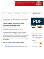 Optional Book List for UPSC Civil Service Exam Preparation - IAS Solution